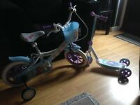 "Girls 10"" frozen bike and scooter £30 Ono for both and puo"