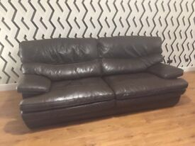 Leather Sofa and Chair - Chocolate Brown