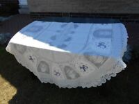 "OVAL LACE TABLECLOTH, BRAND NEW IN BAG, 150cm X 250cm (60"" x 99"")"