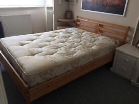 Solid wooden duble bed with mattress !!!