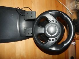 MS Sidewinder Steering Wheel & Pedals (Accelorator & Brake) Mint & Perfect Working Order