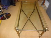 Glass Topped / Antique Finish Brass Frame Coffee Table