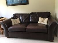 M&S Abbey large 3 seater chestnut brown leather sofa