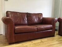 Saddle brown leather sofas
