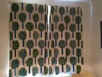 Pair of curtains in Ikea fabric, professionally made, blackout lining