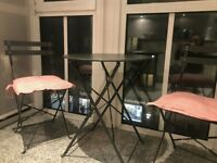 John Lewis Brighton Bistro Outdoor Table & Chair Set, Steel Grey