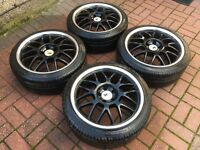 "4 x 18"" DEEP DISH ALLOY WHEELS 5x112 5 112 POLISHED VW golf mk5 mk6 audi a3 a5 w203"