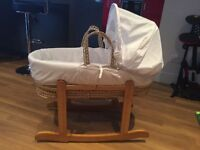 Wicker Moses basket with wooden rocking stand