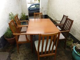 Ercol style retro extending dining table and six chairs (bang on trend)