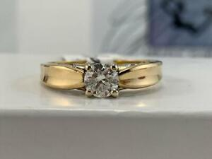 #3894 18K Yellow Gold Simple Solitaire Diamond Engagement Ring .48CTW *SIZE 7 5/8* APPRAISED AT $3950.00!