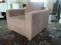 2 suede arm chairs