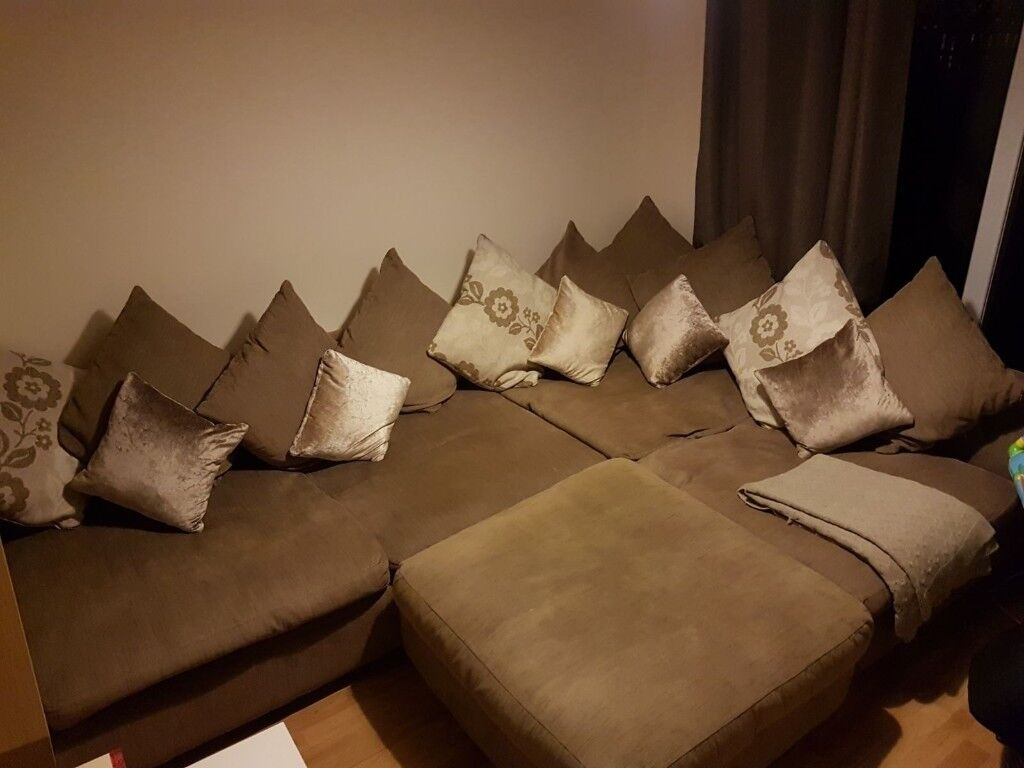 Large 4 seater sofa with large footstool