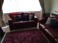 Leather sofas - Red - 3 and 2 seater - from furniture village - great condition - £150 pair