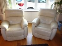 2 x gorgeous Navona genuine leather electric recliner Armchairs.