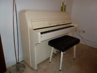ZENDER Cream/White Upright Piano with Schwander Mechanism