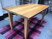 Solid oak dining table for sale 150 x 90 cms (approx)