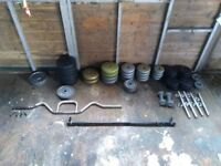 Bench, barbell (x2), dumbbell (x4), curl bar, and 140.6KG worth of plates
