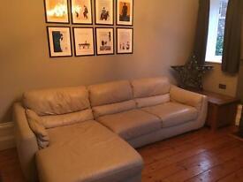 Cream Real leather Natuzzi corner L shape sofa