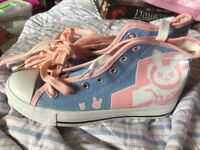 """Overwatch D.Va Blue, Pink & White Sneakers UK Size 4.5 (9.5""""/41cm)"""