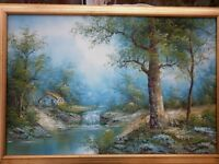 large Framed oil painting of an autumnal scene by I Cafeiri