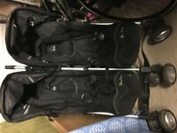 Twin buggy. Silver Cross Pop Duo. Folds down for easy transportation. Good condition