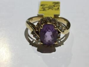 #1371 18K CUSTOM FANCY AMETHYST & DIAMOND RING. JUST OVER 1/2CT. SIZE 6 3/4. **JUST BACK FROM APPRAISAL AT $3100**