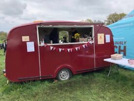 Vintage Catering Caravan with Conti Coffee Machine, Fiorenzato Grinder and double waffle maker.