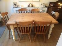 Beautiful Farmhouse Table & 6 Chairs for Sale