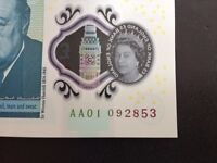 £5 Note AA01 RARE Mint Condition Uncirculated New Polymer 5 Pound note