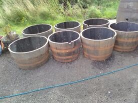 Recycled whisky barrel planters