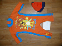 Raa Raa the Noisy Lion sunsafe 1-piece full body swimsuit/ wetsuit and hat for boy 12-18 mths.