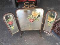 Hand painted Vintage Brass Fire Guard/Screen