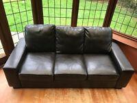 Three seater dark/chocolate brown Sofa (becomes comfortable sofa bed!) RRP £1400