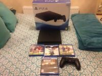 Ps4 slim 500gb,wireless controller,4 games,boxed as new 5 months old,all relevant leads