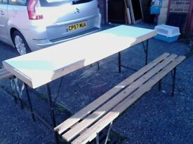 2 x 6 FT BENCHES ,AND 1 TABLE ,