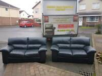 2×2 black leather sofa set