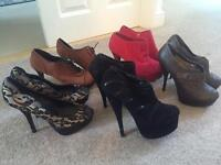 5 pairs of size 8 heels