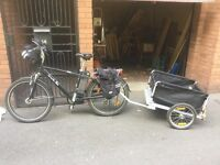 Electric bike and trailer.