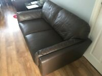 Brown leather corner sofa and 2 seater sofa - used