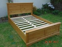 """4'6"""" double bed frame, pine."""