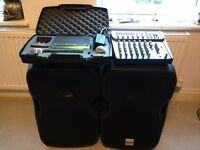 Complete PA system with SM58 Radio Mic, 2 400 WATT Alto speakers and Alto Mixer