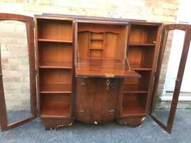 Vintage Display cabinet with writing bureau