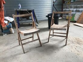 Wooden retro fold up chairs