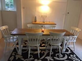 7 FT White Oak Dining Table and 6 Painted Wooden Beech Chairs Farmhouse Kitchen Shabby Chic