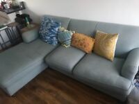 Large Blue Sofa with Chaise