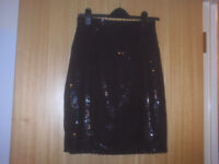 BETTY BARCLAY Black Sequin Skirt. Size 12