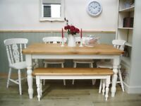 Stunning Pine Farmhouse 5ft Table Chair and Bench Set.