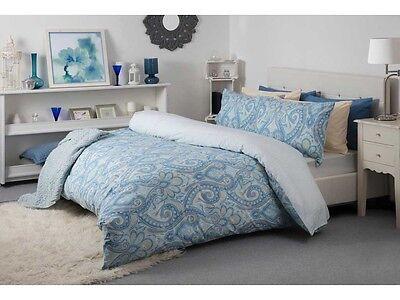 Reversible Paisley India Design Duvet Cover Set in Cobalt Blue Double Size