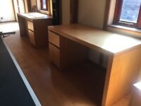 2 Desks, ikea, open back, side cupboard and drawer