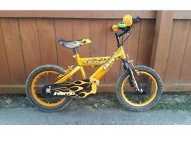 "Huffy boys 14"" bike with stabilisers. Age 4+"